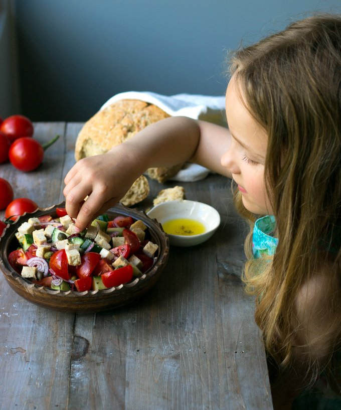 Greek salad with vegan feta cheese. Vegan. gluten-free, myberryforest.com