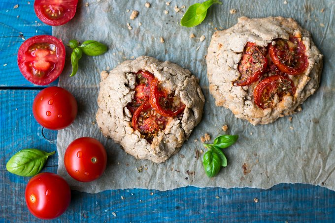 VEGAN, GLUTEN-FREE TOMATO GALETTES WITH CREAMY CASHEW CHEESE