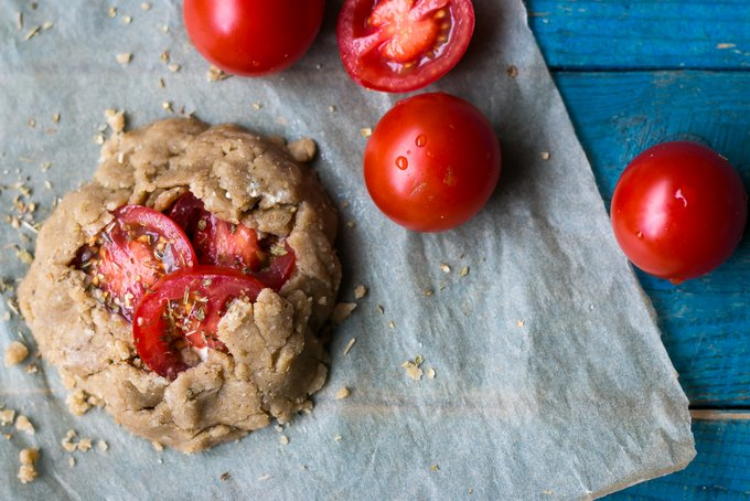Vegan, gluten-free Tomato galettes with creamy cashew cheese. Myberryforest.com