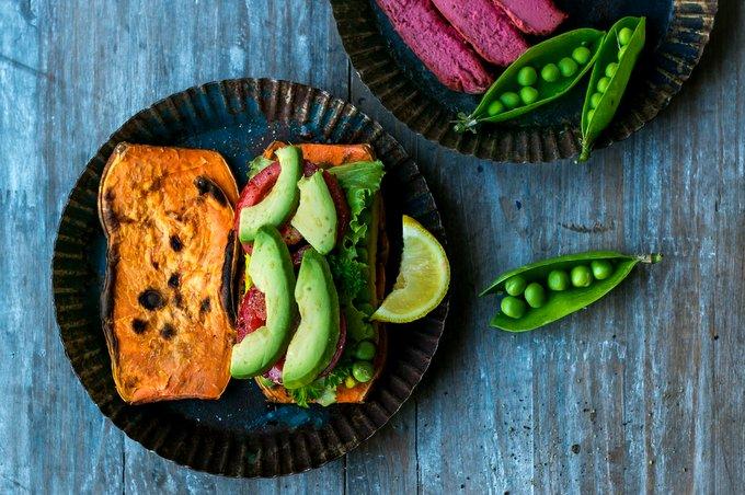 Sweet Potato Sandwich with Beetroot Cashew Cheese. Vegan, gluten-free, myberryforest.com