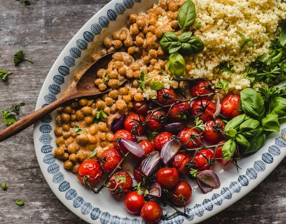 MILLET WITH ROASTED TOMATOES AND CHICKPEAS (VEGAN, GF)