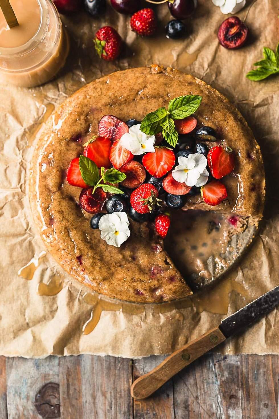 Vegan Berry Caramel Cake