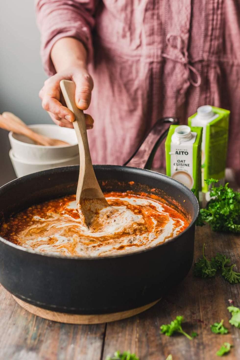 Creamy Lentil Noodle Soup