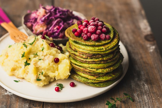 Vegan Gluten-free Savory Kale Pancakes