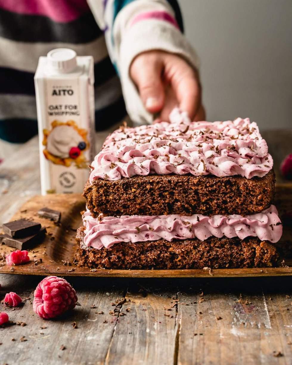 Vegan Chocolate Cake with Raspberry Cream