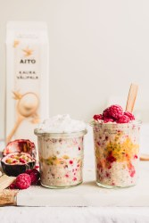 Raspberry passionfruit overnight oats