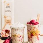 Raspberry passionfruit overnight oats