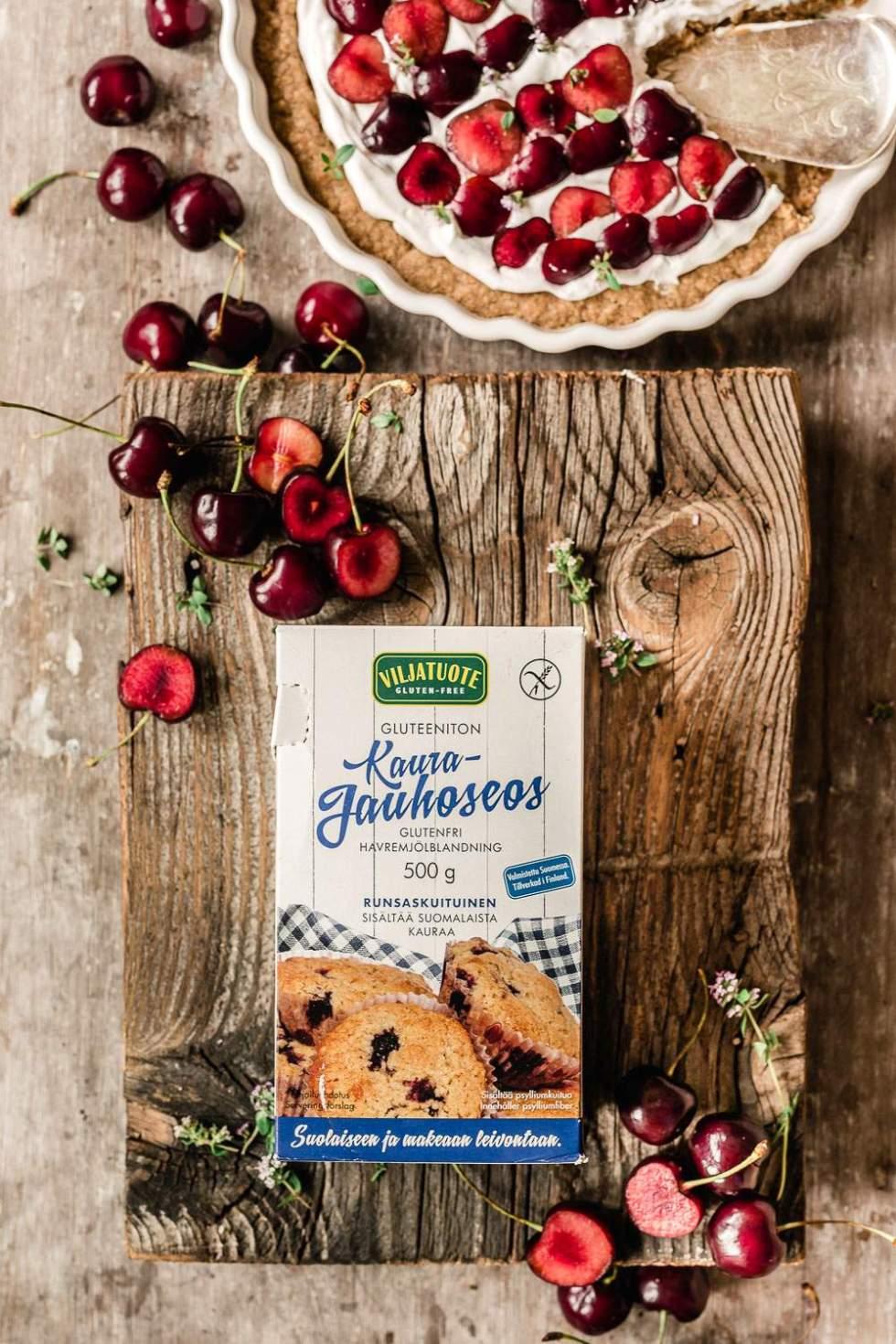 Gluten-free vegan cherry tart with tahini caramel