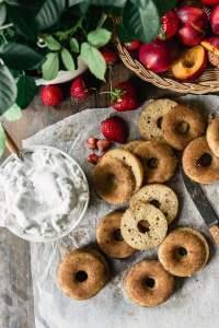 Gluten-free vegan nectarines and cream donuts