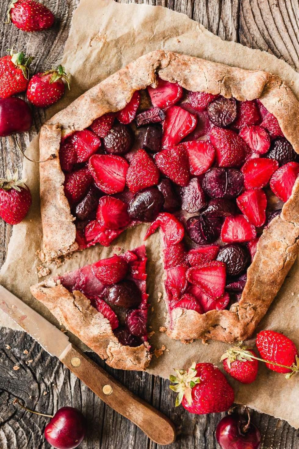 Gluten-free vegan banana sweetened berry galette
