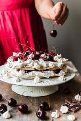 Vegan black forest pavlova meringue cake