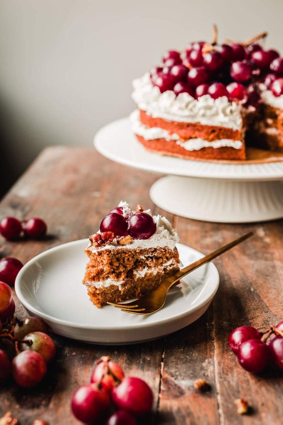 Gluten-free vegan carrot cake with pecans