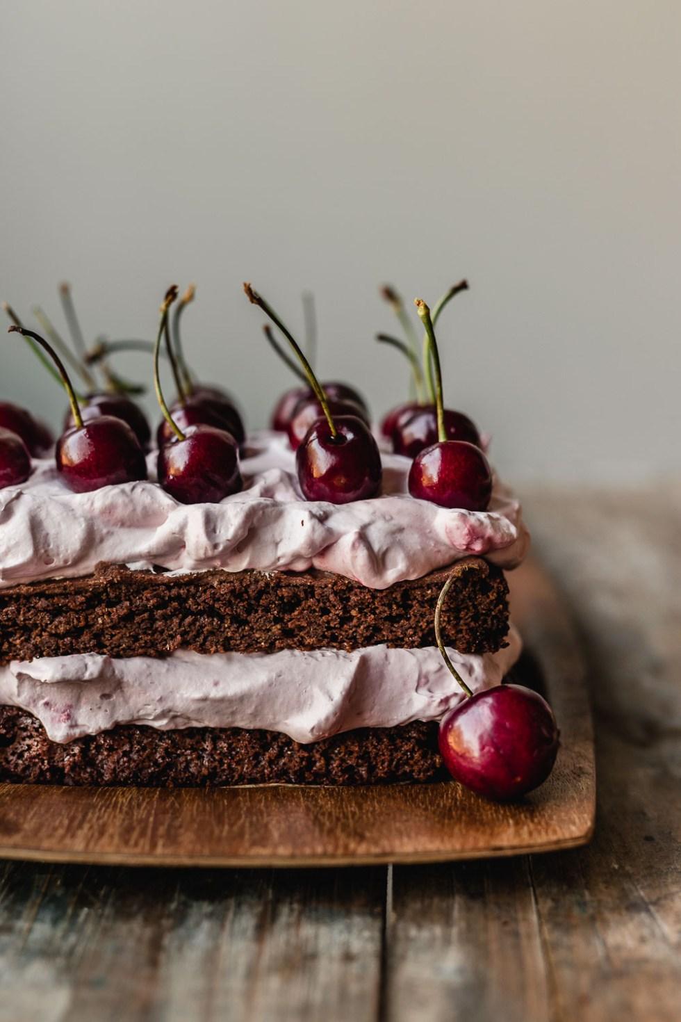Vegan Black forest cherry cream cake