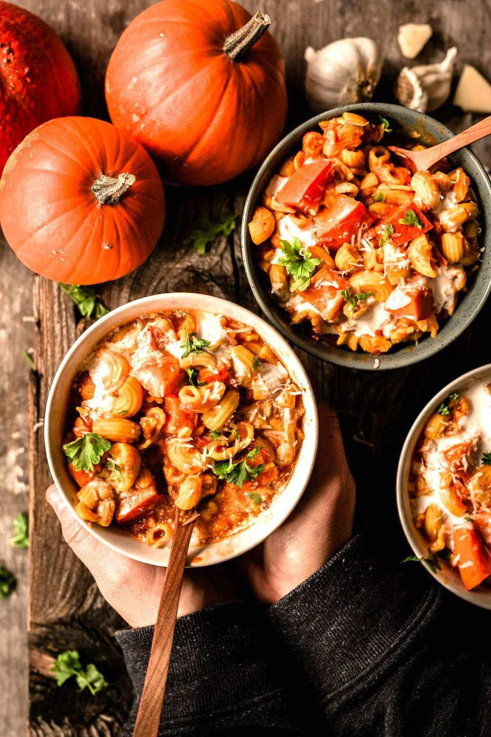 Pumpkin stew with macaroni
