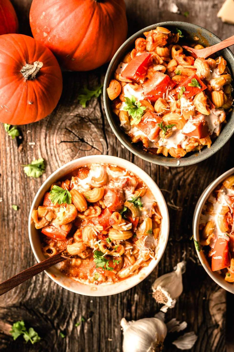 Pumpkin stew with macaroni