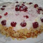 German Raffaello Cake with Raspberries