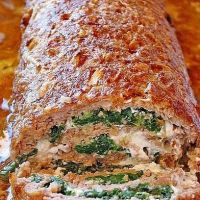 German Meatloaf Filled with Spinach and Cheese