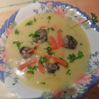 German Kohlrabi Soup with Meatballs