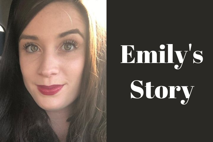 """Dark Haired Girl with Text """"Emily's Story"""