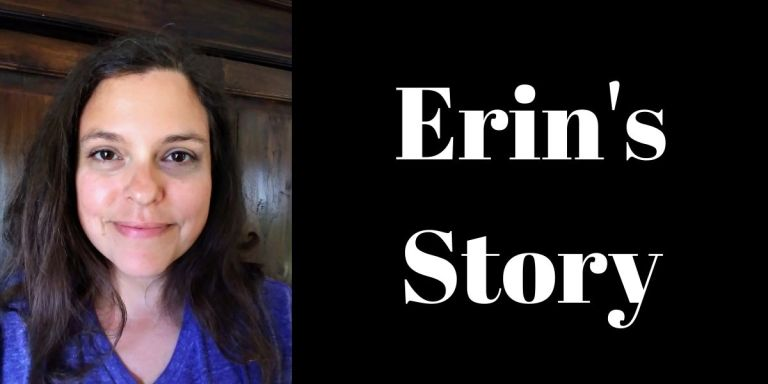 """Picture of smiling woman with dark hair and a purple shirt. Image says, """"Erin's Story"""