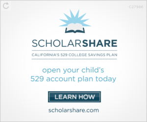 ScholarShare ad image - California's 529 College Savings Plan - open your child's account plan today!