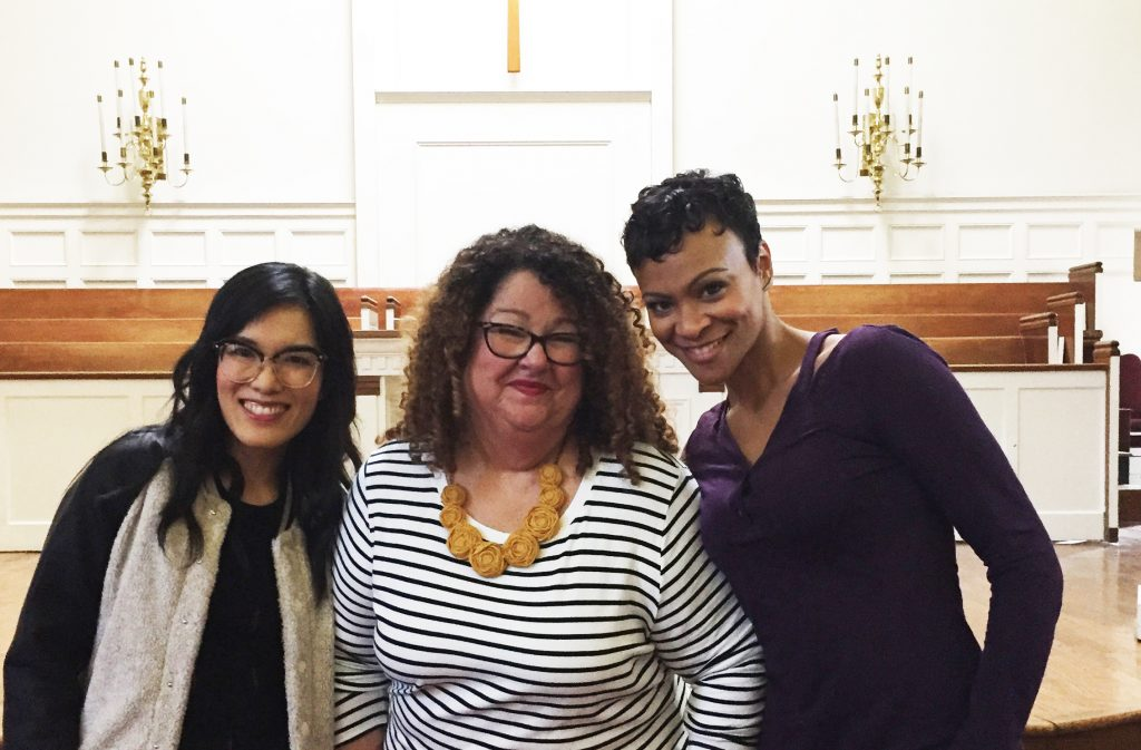 Ali Wong and Carly Hughes with Marta on the set of American Housewife