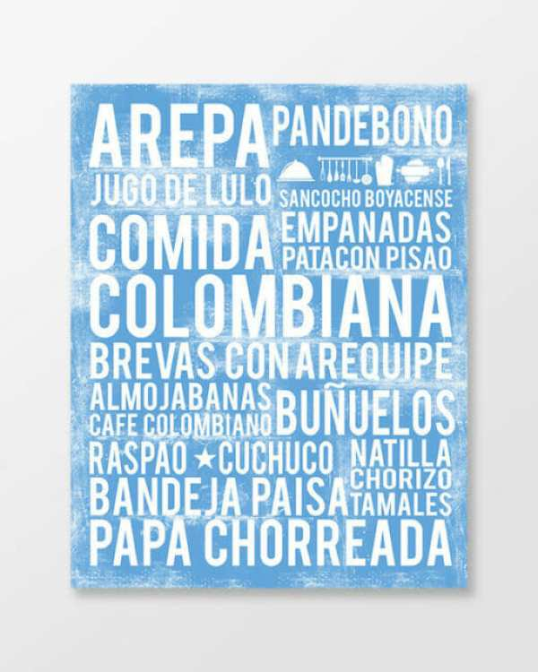 Colombian food poster in subway art style