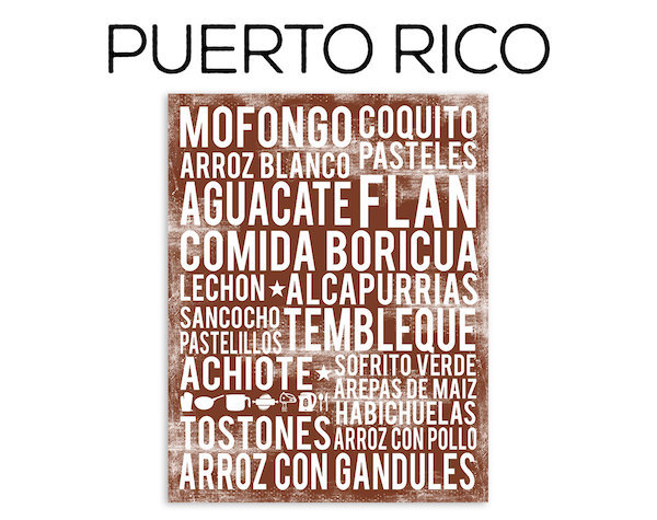Puerto Rico food poster in subway art style