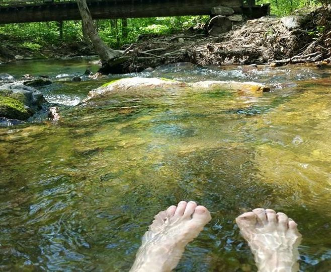 Soaking tired feet and legs in Tagg Run