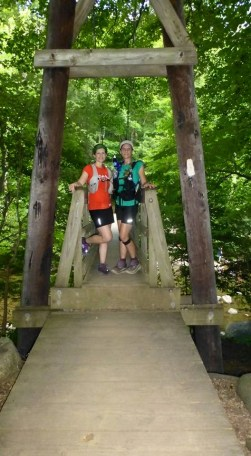 Tye River suspension bridge - the end of a fun run. — with Laura Pound.