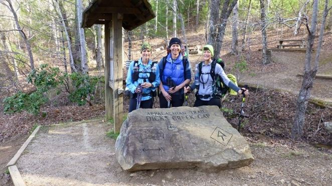 The end of a fun weekend... Hogpen Gap to Dick's Gap, GA — with Lisa Belcher and Martha Johnson.