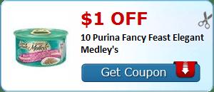 $1.00 off 10 Purina Fancy Feast Elegant Medley's