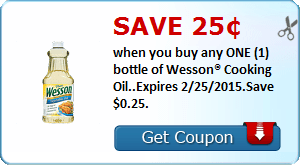 Save 25¢ when you buy any ONE (1) bottle of Wesson® Cooking Oil..Expires 2/25/2015.Save $0.25.