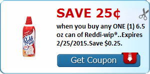 Save 25¢ when you buy any ONE (1) 6.5 oz can of Reddi-wip®..Expires 2/25/2015.Save $0.25.