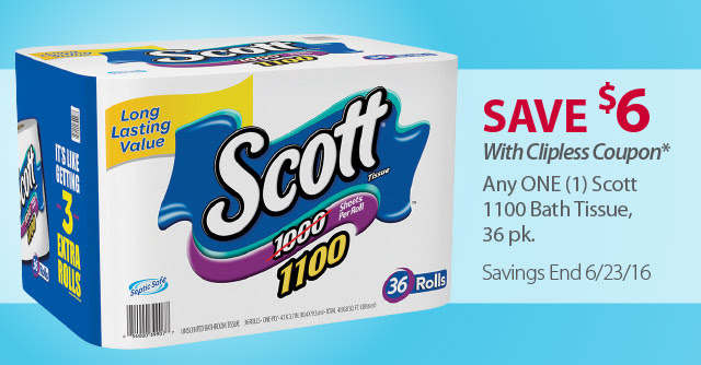 instant save on scott toilet paper one day only