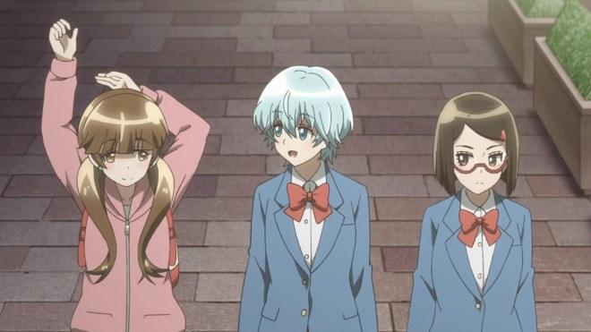 Tiga karakter utama dalam Houkago Saikoro Club ep.  1