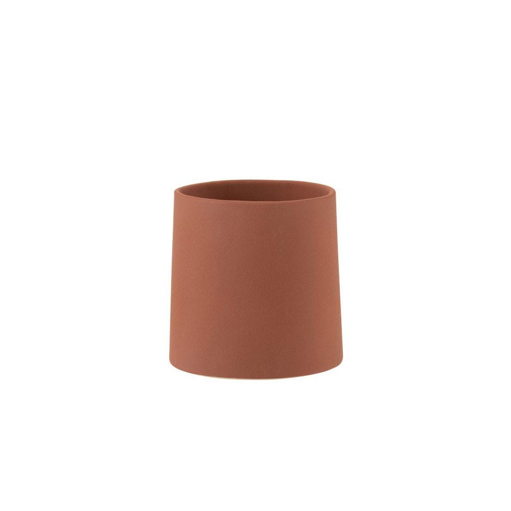 cache pot en ceramique texture brute coloris rouge terre