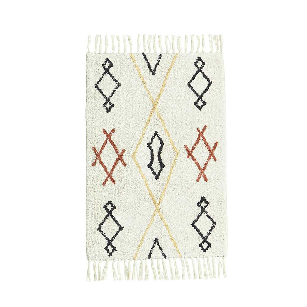 tapis de douche ou salle de bains en coton et latex motif berbere
