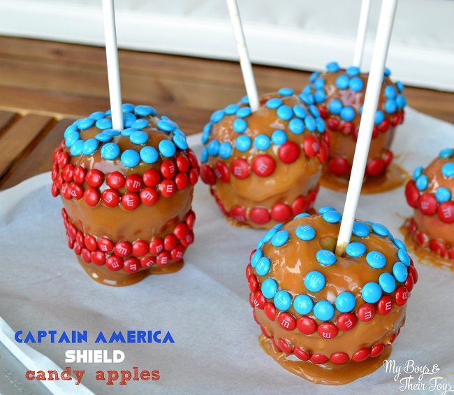 captain america shield candy apples