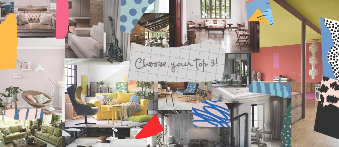 Collage of living rooms for a survey on Top 3 Interior styles in the Philippines