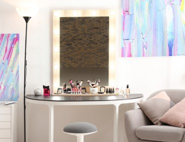 interior with vanity mirror make up