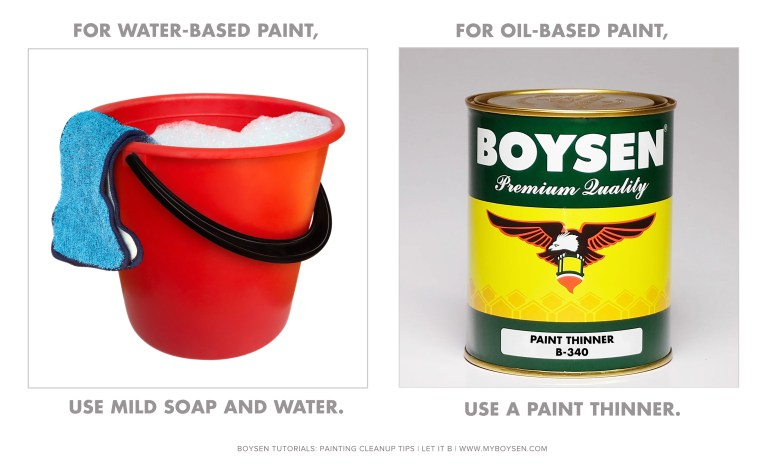 Boysen Painting Cleanup Tip # 2: Remove paint spills and drips.