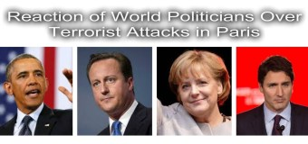 Terrorist Attacks in Paris: the reactions of the world Politicians