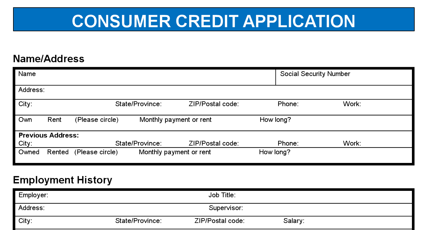 consumer credit application pdf template my business web space