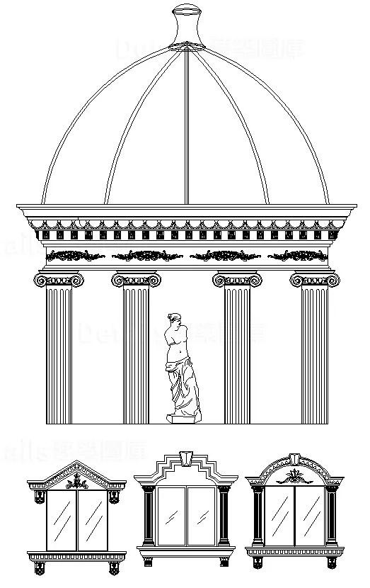 歐式裝飾元件,新古典建築室內設計裝飾構件,雕塑,水池,羅馬柱,飾角,線板,古典裝飾,雕塑,拱門,壁爐,羅馬柱,多力克柱式,愛奧尼克柱式,科林斯柱式,歐式建築,希臘建築,壁爐,頂部燈盤,壁畫,藻井,拱頂,尖肋拱頂,穹頂,掛鏡線,腰線,梁托,拱券,門,門洞,窗,牆面裝飾線條,護牆板
