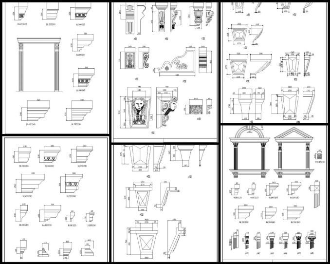 歐式常用構件門窗系列、線板系列,歐式常用構件柱式系列、歐式常用構件GRC圖樣、歐式裝飾元件,新古典建築室內設計裝飾構件,雕塑,水池,羅馬柱,飾角,線板,古典裝飾,雕塑,拱門,壁爐,羅馬柱,多力克柱式,愛奧尼克柱式,科林斯柱式,歐式建築,希臘建築,壁爐,頂部燈盤,壁畫,藻井,拱頂,尖肋拱頂,穹頂,掛鏡線,腰線,梁托,拱券,門,門洞,窗,牆面裝飾線條,護牆板(以參考圖例為準)