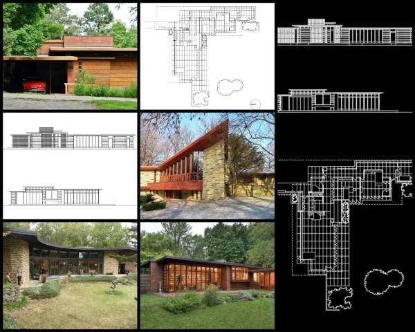 【世界知名建築案例研究CAD設計施工圖】Herbert and Katherine Jacob-法蘭克·洛伊·萊特 Frank Lloyd Wright