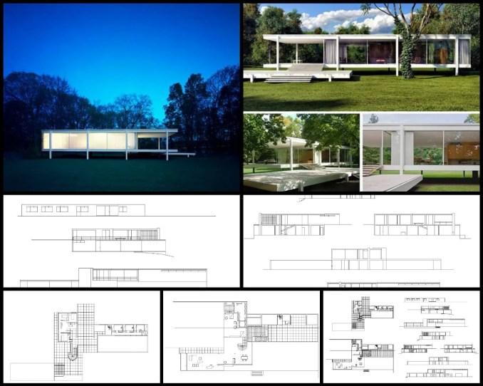 【世界知名建築案例研究CAD設計施工圖】法恩斯沃斯莊園Farnsworth House- 密斯·凡·德·羅Ludwig Mies van der Rohe