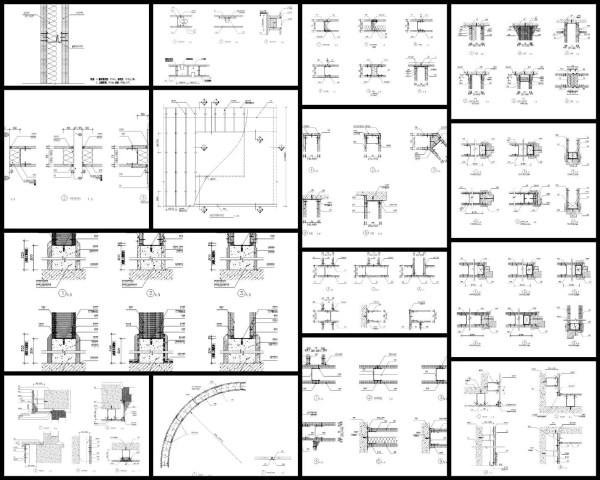 【各類CAD Details細部大樣圖庫】輕鋼架龍骨紙面石膏板隔牆CAD大樣圖