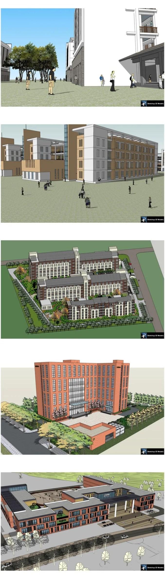【建築3D Sketchup模型-精選20件學校建築3D Sketchup模型 V7】